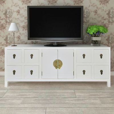 Wooden Asian Sideboard TV Cabinet 8 Drawers 2 Doors Home Storage White Cupboard