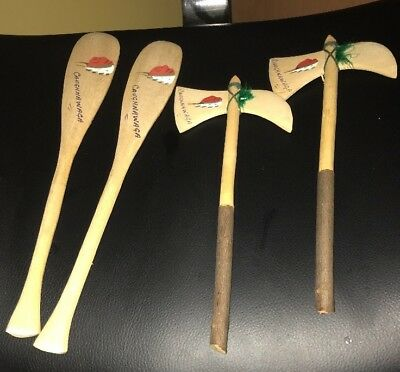 Caughnawaga Indian Reservation Souvenir Wooden Tomahawks & Oars Lot Of 4