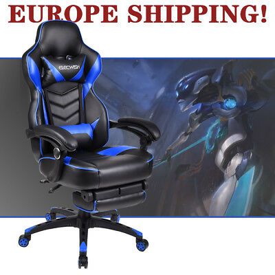 Video Computer Gaming Chair Office Ergonomic Racing Style PU Leather w/ Footrest
