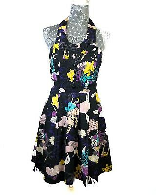 838f2e02ac Twinkle by Wenlan Dress Size 4 Anthropologie Floral Birds Rare Black Pockets