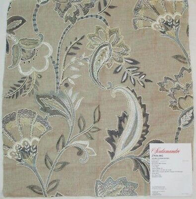 "Scalamandre ADARA EMBROIDERY Fabric Remnant Linen 16 x 17"" Sample Flax Metallic"