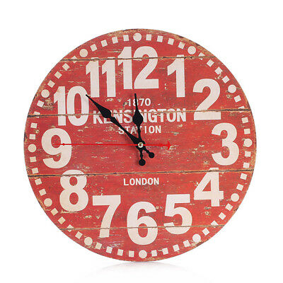 Wooden Wall Clock Shabby Rustic Vintage Antique Style Kitchen DIY Home Decor