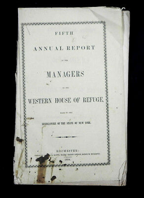 original 1854 WESTERN HOUSE OF REFUGE 1st STATE reform school youth Rochester NY