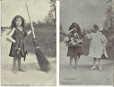 """Two Postcards - Poor Little Girl, """"Please A Copper Sir"""" & """"I'm Hungry - 1900's"""
