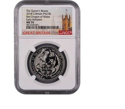 2018 Queen's Beasts Platinum 1 oz Dragon - NGC MS 70 Early Releases - G. Britain