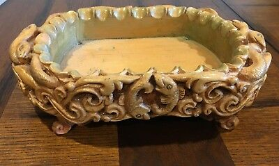 Vintage Primitive Beautifully Hand Carved Wooden Snake and Fish Dish w/ Feet