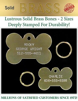 Large Solid Brass Bone Dog Pet ID Name Tags-Custom Identification Tag FREE Ship!