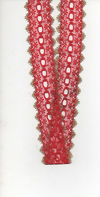 Craft EYELET LACE 35mm CHRISTMAS RED with GOLD EDGE  x 10Metres  ***NEW**