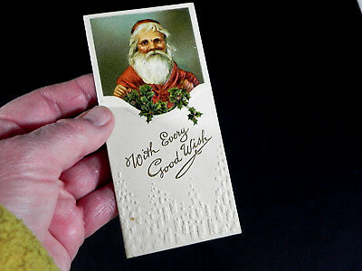 vintage 1930s embossed  SANTA money  card  CHRISTMAS