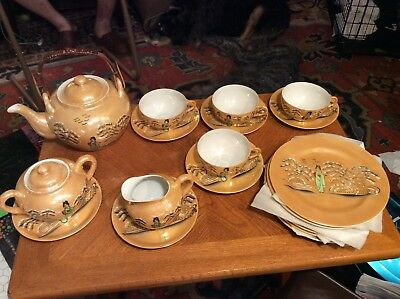 Antique Japanese Export Hand Painted Tea Set From 1930's With Lithoplane Cups