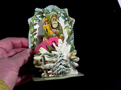 vintage antique VICTORIAN 3d POP UP  Green SANTA CHRISTMAS  card  RAPHAEL TUCK