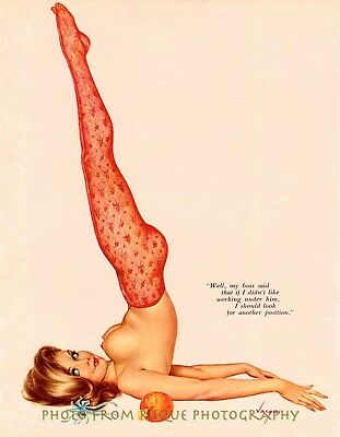 "Nude Woman In Yoga Pose 8.5x11"" Photo Print, Alberto Vargas Lovely Pin-up Art"