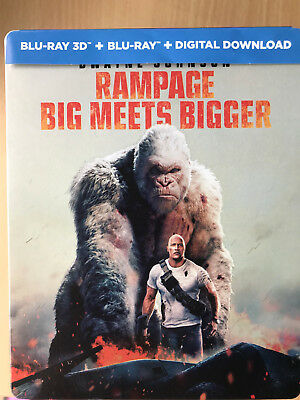 Dwayne Johnson Rampage 2018 Monster Movie Used UK 2D + 3D Blu-ray Steelbook