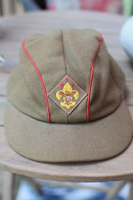 Vintage 1950's Boy Scouts of America Wool Cotton Green Red Stripe Hat Size 7