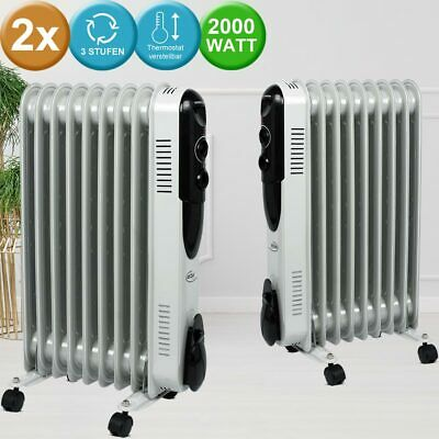 Set of 2 oil radiators electric stand heaters 3 stages thermostat adjustable