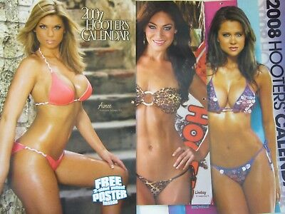 Lot of 3 Hooters Calendars w/Autographs 2007 2008 2012 - Swimsuit Bikini Signed