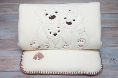 Bedding set, quilt and cushion, for pram, moses basket or crib. Made in Europe