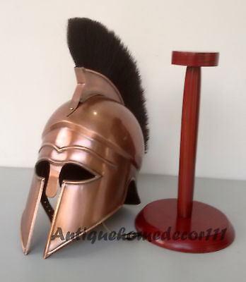 Greek Halloween Corinthian Helmet with Black Plume Armor Medieval Knight Spartan