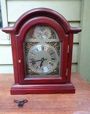 'TEMPUS FUGIT' 31 DAY Wind Up MANTEL CLOCK with PENDULUM and KEY