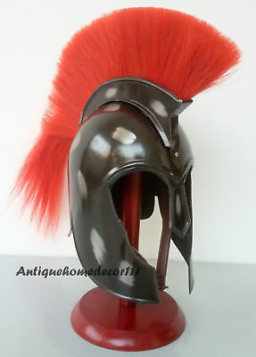 SET OF 2 PCS Adult Size Troy Armor Helmet Knight Gladiator Greek Red Plume