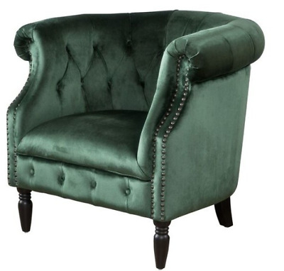 Old English Club Chair Vintage Tufted Emerald Green New Velvet Plush Accent  Seat
