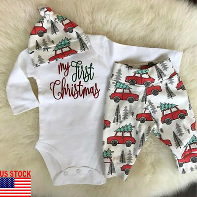 US Xmas Newborn Baby Boy Girl My 1st Christmas Romper Pants Outfit Clothes 3PCS
