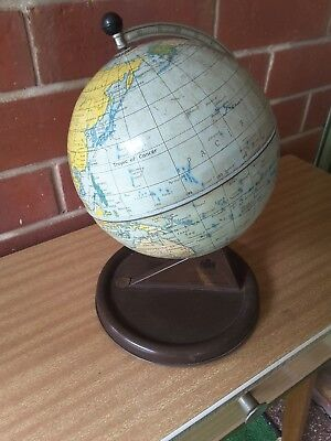 1940s Chad Valley Tin Toy Spinning World Globe - Made In England - Vintage