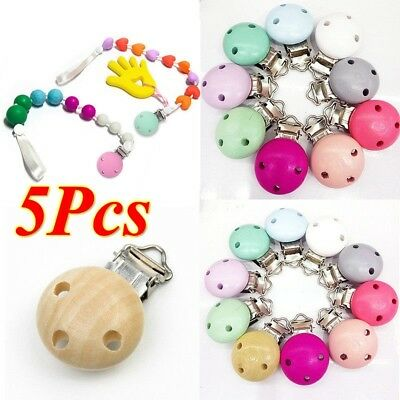 Dummy Nipple Pacifier Holder Wooden Soother Suspender Clips Baby Infant 2/5Pcs