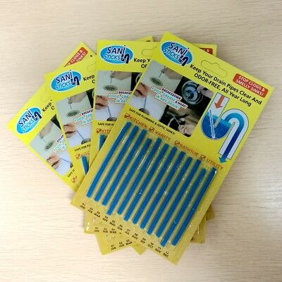 US New Sani Sticks 48 Pk Keeps Drains and Pipes Clear & Odor Free As Seen On TV