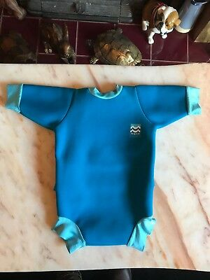 "Baby's Blue Neoprene Swimsuit Size L 12 Months 9.5"" Chest  - Length 15"""