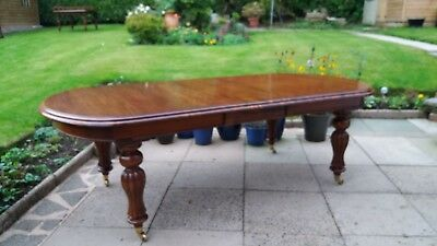 Victorian  Large Extending Mahogany   Wind Out D End Dining Table