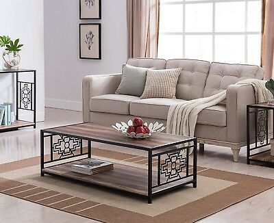 Industrial Style Coffee Table Furniture Living Room Modern Black Rustic  Metal