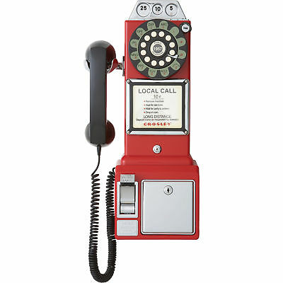 Crosley 1950s Replica Vintage Retro Corded Wall Push Button Pay Telephone - Red