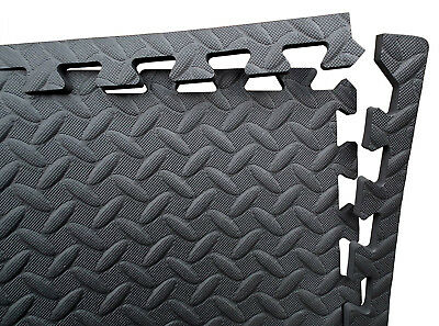 Black Soft Interlocking Eva Foam Exercise Floor Mats Gym Garage House Office Mat