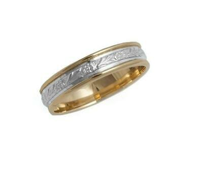 6mm Solid 10k Yellow & White Gold Floral Rope Unisex Antique Wedding Band S 5-13