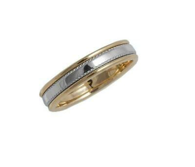 6mm Solid 10kt Yellow & White Gold Bi Grooved Unisex Antique Wedding Band sz5-13