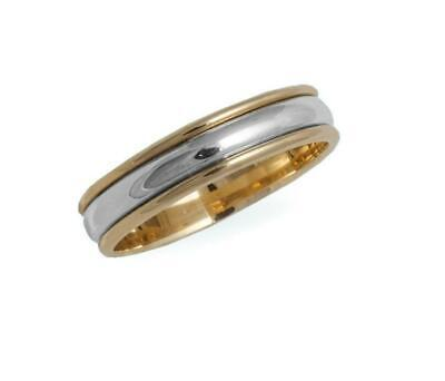 6mm Solid 10k Yellow & White Gold Bi Grooved Unisex Antique Wedding Band Sz 5-13