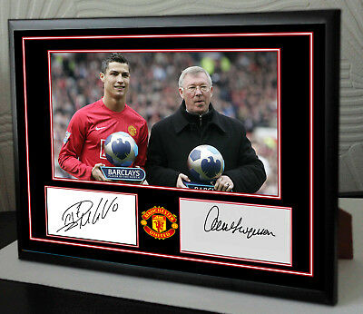 Cristiano Ronaldo Alex Ferguson Framed Canvas Print Signed Great Gift