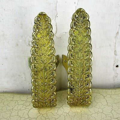 Couple Vintage Brass Ornate Curtain Tie Backs  Embossed Curtain Holders