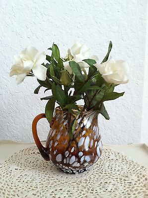 Vintage Hand Blown Amber Art Glass Pitcher  With End Of The Day White Glass