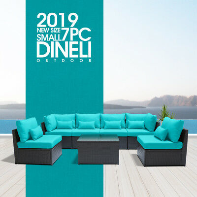 DINELI S 7pc Rattan Wicker Sofa Set Sectional Couch Furniture Patio Outdoor