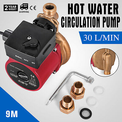 3 Speed Hot Water Circulation Pump 30L/min 9m Circulating Recirculating Solar