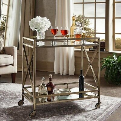 Durable Mirrored Shelves Antique Brass Bar Cart Indoor with Stylized Railings