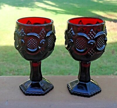Vintage AVON Cape Cod Ruby Red Glass Wine / Port / Liqueur 12cm Goblets x 2