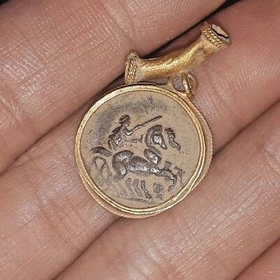 Ancient Sterling Silver King Alexander Coin K On Chariot Solid 18K Gold Pendant