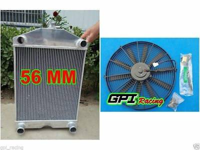 56mm aluminum radiator for Ford 2N / 8N / 9N tractor w/flathead V8 engine MT+FAN