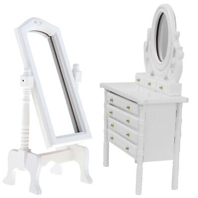 1/12 Scale Dollhouse Miniature White Wooden Dressing Table Mirror Kits