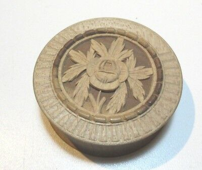 Antique Wax Seal In Turned Carved Wooden Case