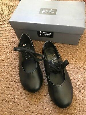 Tappers And Pointers Childrens Black Tap Dance Shoes With Toe Taps Size 10