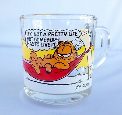 """Vintage ~ McDonald Garfield """"It's Not a Pretty Life…."""" 1978 ~ Coffee Cup/Glass"""
